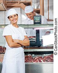 同僚, 確信した, 店, 肉屋, 仕事