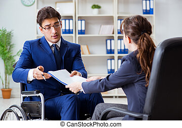 同僚, 議論, 不具, 女性, ビジネスマン, 持つこと