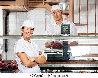 同僚, 重くのしかかる, 肉, 肉屋, 確信した, マレ