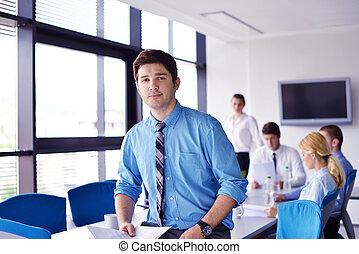 同僚, offce, ミーティング, ハンサム, 背景, 人, 肖像画, ビジネス, 若い