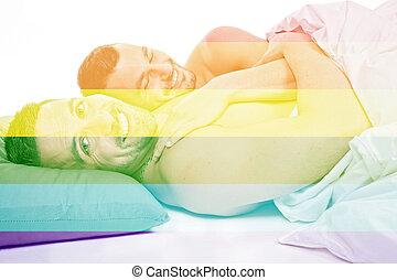 同性愛の カップル, ベッド, onder, スタジオ, 白