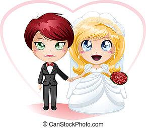 同性戀的女性, 新娘, 在, 衣服, 以及, 衣服, 結婚