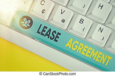 同意する, 執筆, 借りなさい, ビジネス, agreement., テキスト, 賃貸料, 用語, パーティー, 1(人・つ), property., 契約, 概念, 単語