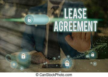 同意する, 執筆, 借りなさい, メモ, agreement., ビジネス, 賃貸料, 用語, showcasing, パーティー, 1(人・つ), property., 提示, 契約, 写真