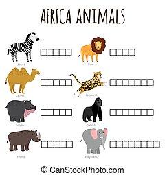 名前をつけられた, 子供, 単語, イラスト, いかに, ゲーム, ベクトル, アフリカ, 動物