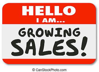名前, イントロダクション, ステッカー, 販売 人, タグ, 意欲的, 成長する, こんにちは