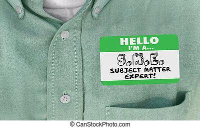 名前, 専門家, 主題, イラスト, 問題, タグ, sme, 3d, こんにちは, ワイシャツ