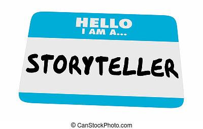 名前, 語り手, ステッカー, コミュニケートしなさい, イラスト, タグ, メッセージ, こんにちは, 3d