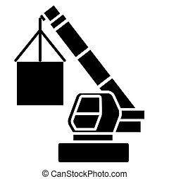 后勤, 货物, 描述, 隔离, 签署, 矢量, 黑色的背景, 图标, 起重机