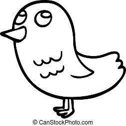 向上, 卡通, 看, 線描, 鳥