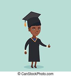 向上。, 拇指, african american, 給, 年輕, 畢業生