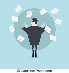向上。, 概念, work., 成功, 紙, 拇指, 商人, 投擲