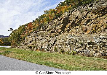 向前, 形成, 高速公路, 岩石