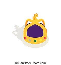 君主, 等大, 王冠, スタイル, 英語, アイコン, 3d