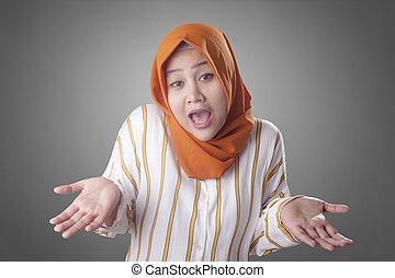 否定, 女性実業家, 拒否, muslim, ∥あるいは∥, ジェスチャー, ショー