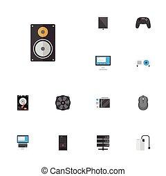 含む, 平ら, セット, コンピュータ, elements., アイコン, また, objects., コントローラー, シンボル, pc, ベクトル, ディスク, ジョイスティック, 冷却器, 他, palmtop