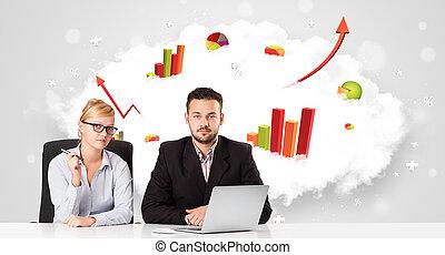 含んでいること, カラフルである, 女性実業家, 若い, グラフ, 雲, 背景, ビジネスマン, 図