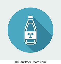 """含んでいること, 危ない, 液体, """"radioactive"""", シンボル, 現代, イラスト, ベクトル, びん, 描写, アイコン"""