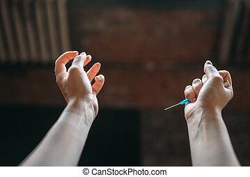 吸毒者, 手, 由于, 注射器, 毒癮, 概念