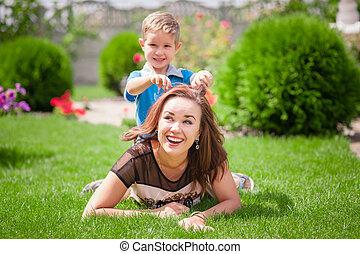 吹く, タンポポ, 若い, の上, 便乗商法, 母, 終わり, 肖像画, 息子, 幸せ