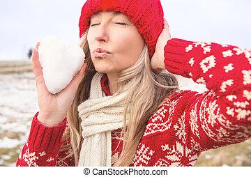 吹く, 保有物, 心, 女性, 形, 雪玉, 接吻