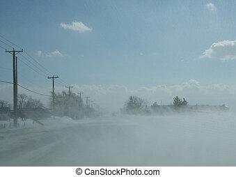 吹く, 雪, 道, 横切って