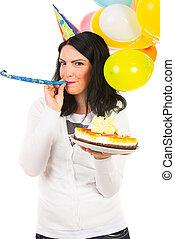 吹く, birthday, 送風機, 女, パーティー角