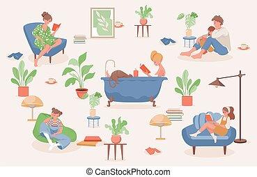 周末, illustration., 矢量, 放松, 一起。, 人们, 家, 套间, 停留, 开支