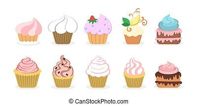 味が良い, デザート, cupcake, w, おいしい, set., 甘い, コレクション