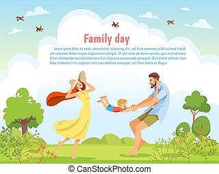 味方, day., 幸せ, 遊び, nature., 漫画, イラスト, 子供養育, 子供, 家族の歩くこと, ベクトル, ポスター, 日当たりが良い, 自然, 親であること, カード, 概念