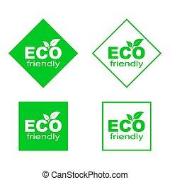 味方, stickers., eco, 環境, 緑, セット