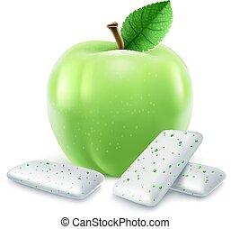 味, アップル, ゴム, パッド, 緑, 泡