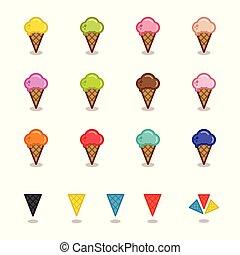 味, バックグラウンド。, アウトライン, 単純である, カフェ, 隔離された, スタイル, 白, gelato, アイコン, 有色人種, セット, 別, cones.