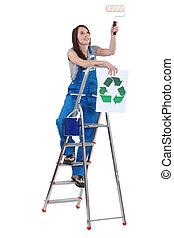 呼出し, へ, リサイクルしなさい, 飾り付ける, 材料