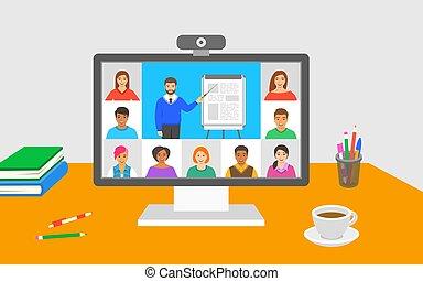 呼出し, オンラインで, 事実上, クラス, テレコンファレンス, 教育