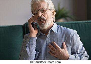 呼出し, 攻撃, 話し, 心, 911, 持つこと, シニア, 電話, 人