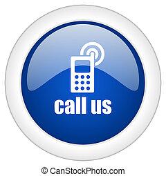 呼出し, 私達, アイコン, 円, 青, グロッシー, インターネット, ボタン, 網, そして, モビール, app, イラスト