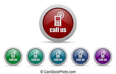 呼出し, 私達, アイコン, 電話, 印
