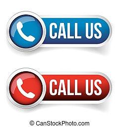 呼出し, 私達, -, 電話アイコン, ベクトル, ボタン