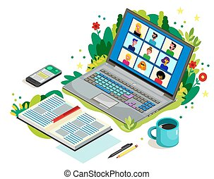 呼出し, 話, コンピュータ, screen., それぞれ, の間, 同僚, home., 網, テレコンファレンス, ...
