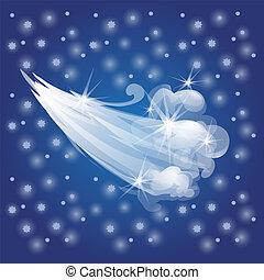 呼吸, スケッチ, illustration., 冬, カード, ポスター, お祝い, 流れ, 挨拶, 空気。, ∥あるいは∥, サンプル, ベクトル, invitations., 年, パーティー, 寒い, 新しい, クリスマス, wind.