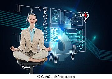 和平, chic, 從事工商業的女性, 坐在荷花里确定位置, 上, 轉椅, 針對, 美元徵候, 上, 未來, 背景