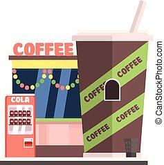 咖啡店, 前面, 在, 圣誕節。, 矢量, 插圖