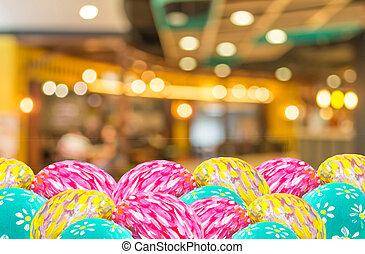 咖啡店, 迷離, 背景, 由于, bokeh, 以及, 復活節蛋, 圖像