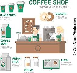 咖啡店, infographic, 套間, 設計