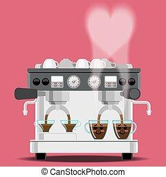 咖啡机器, 同时,, 咖啡杯