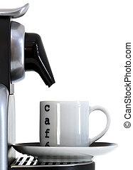 咖啡杯, 同时,, expresso, 机器