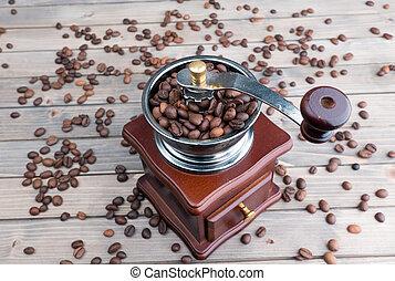 咖啡磨工, works., 高的角度, 觀點。