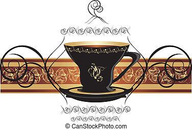 咖啡茶杯, 以及, 裝飾, 帶子