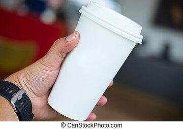 咖啡茶杯, 手, 紙, 藏品, 白色, 人, 空